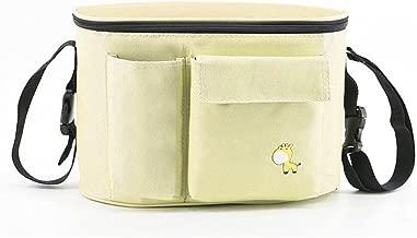 Stroller Organizer High Capacity Stroller Bag Multiple Pockets with Strap Large Storage Space Multi Methods of Use (Beige)