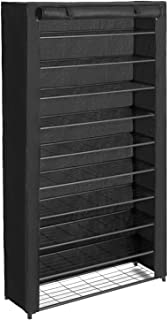 SONGMICS 10-Tier Shoe Rack, Shoe Storage with Dust Cover, Shoe Shelf with Stable Iron Structure, Easy to Assemble, for About 50 Pairs of Women's Shoes, 36 x 11.2 x 77.2 Inches, Black ULSM36BK