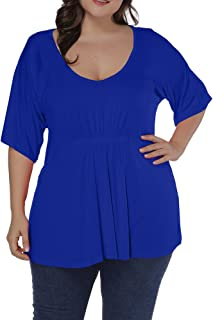 6a6c16e7849 Allegrace Women Plus Size Pleated Front T Shirt Short Sleeve V Neck Loose Tee  Top