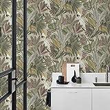 Papel pintado verde vintage, floral, pájaro beige, jungla, loro, flores, efecto 3D, papel pintado para dormitorio, cocina, salón, pasillo, incluye cola maestra para papel pintado