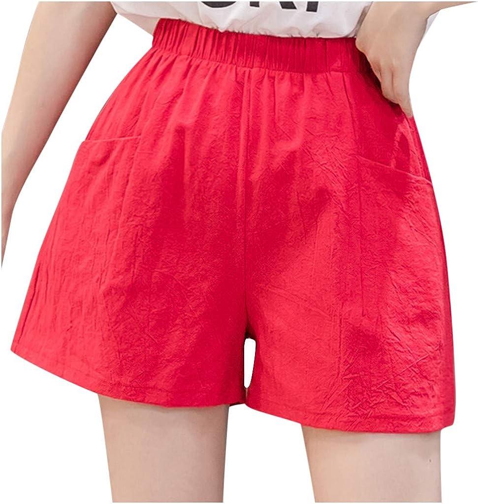 BHSJ Women's Shorts Pockets High Waist Linen Beach Hot Short Pants Loose Casual Thin Wide Leg Linen Shorts for Women