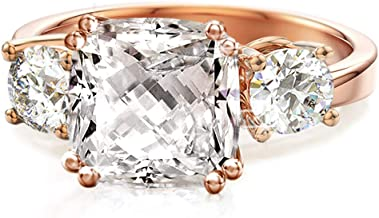 Samie Collection Meghan Markle CZ Engagement Rings Inspired by Royal Wedding: 3-Stone Cushion Cubic Zirconia & Simulated Gemstone Wedding Ring Set in 18K Yellow Gold, 18K Rose Gold & Rhodium Plating
