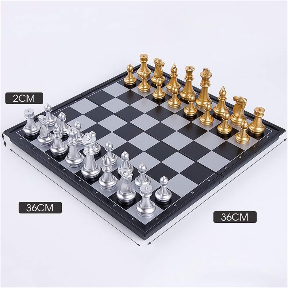 Zyangg-Home Juego de ajedrez Conjuntos de Juego de ajedrez magnético Plegable Junta Hecha a Mano