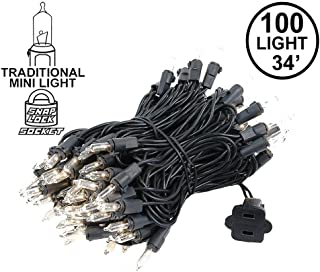 Novelty Lights 100 Light Clear Christmas Mini Light Set, Black Wire, 34' Long