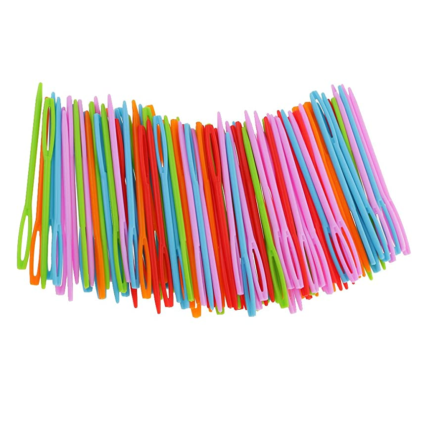 展望台下線オーバーラン100Xプラスチックかがりスレッディング編む編み物針のためにDIYクラフト7センチメートル