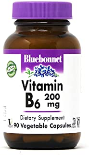 Bluebonnet Vitamin B-6 200 mg Vegetable Capsules, (743715004320) Unflavored 90 Count