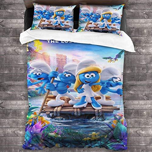 Juego de ropa de cama de 3 piezas de 218 x 177 cm, S-Mur-Fs conjuntos de edredón para cama de matrimonio con 2 fundas de almohada coloridas impresas para habitación de invitados de las mujeres.