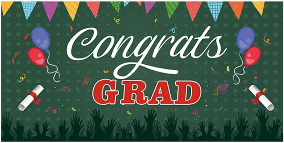 NUOBESTY 2021 spring and summer new In stock Graduation Banner Polyester Photogra Congrats Grad