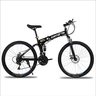 Mountain Bike,Bicicleta de montaña Plegable 26 Pulgadas,Todoterreno Adultos, velocidades 21,24,27, neumáticos Resistentes y Freno de Doble Disco, Rueda de radios,Negra VIHII, 21-Speed Shift