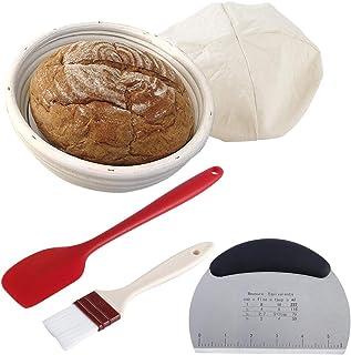 GENNISSY Panier à pain de 17,8 cm de style français avec grattoir, couteau de coupe, brosse en nylon, sac de boulangerie, ...