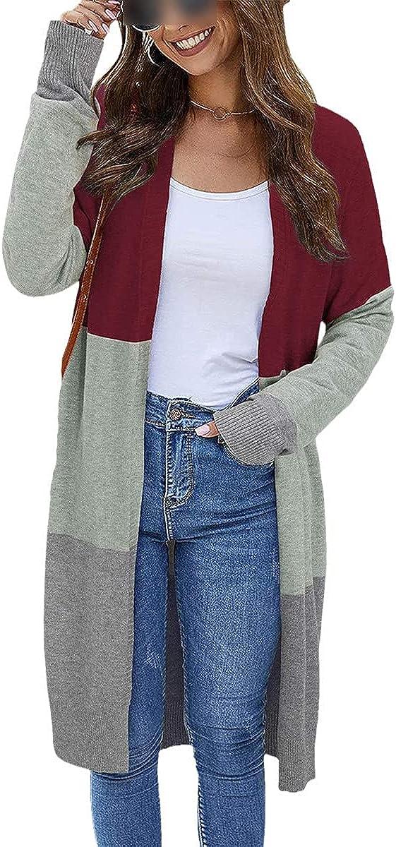 Women's Cardigan Long Cardigan Bohemian Style Long Sleeve Color Block Oversized Striped Knit Jacket