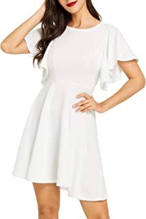 47c6b9aad1 Romwe Women s Stretchy A Line Swing Flared Skater Cocktail Party Dress