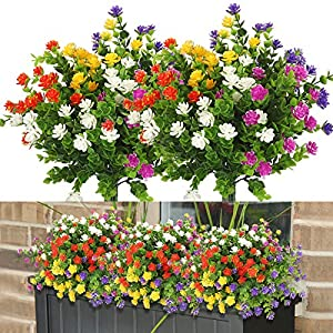 10 Bundles Artificial Flowers Outdoor Fake Flowers for Home Decoration, UV Resistant Faux Plastic Greenery Shrubs Plants for Hanging Garden Porch Window Box Décor in Bulk Wholesale, 5 Colors
