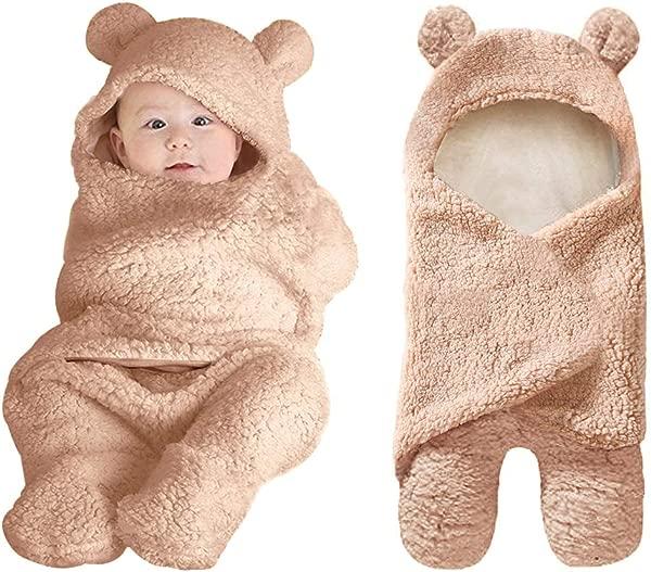 Rainlin Cute Baby Plush Swaddle Blankets Unisex Newborn Boys Girls Baby Shower Gifts Hooded Bear Sleeping Bag 0 6 Month Brown