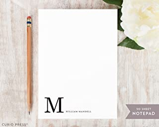 CORNER MONOGRAM NOTEPAD - Personalized Mens Masculine Dad Guy Professional Business Stationery/Stationary Note Pad