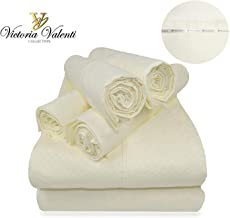 Victoria Valenti Embossed Sheet Set with 4 Pillow Cases (Two in The Twin Size), Double Brushed and Ultra Soft with Deep Pockets for Extra Deep Mattress, Microfiber, Hypoallergenic Split King Off-white