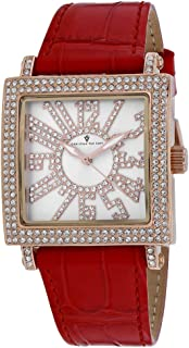 Christian Van Sant Women's Lumina Stainless Steel Quartz Leather Strap, Red, 20 Casual Watch (Model: CV0243)