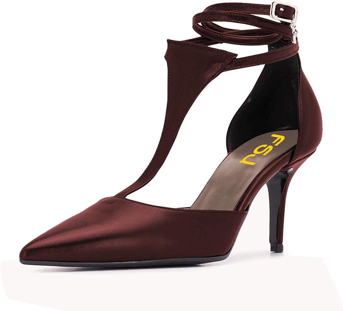 Product FSJ Miami Mall Women Stylish Pointed Toe D'Orsay Stiletto Kit Strap Pumps T