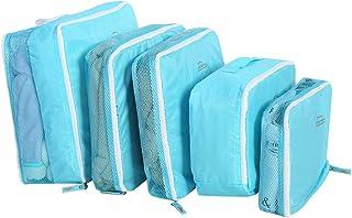 طقم 5 قطع / حقائب سفر تخزين حقائب الأمتعة التعبئة الحقائب المكعبات، مجموعات فرز الملابس متعددة الوظائف (أزرق)