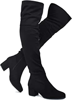 9a460a613b80 Premier Standard - Women's Over The Knee Stretch Boot - Trendy Low Block  Heel Shoe -
