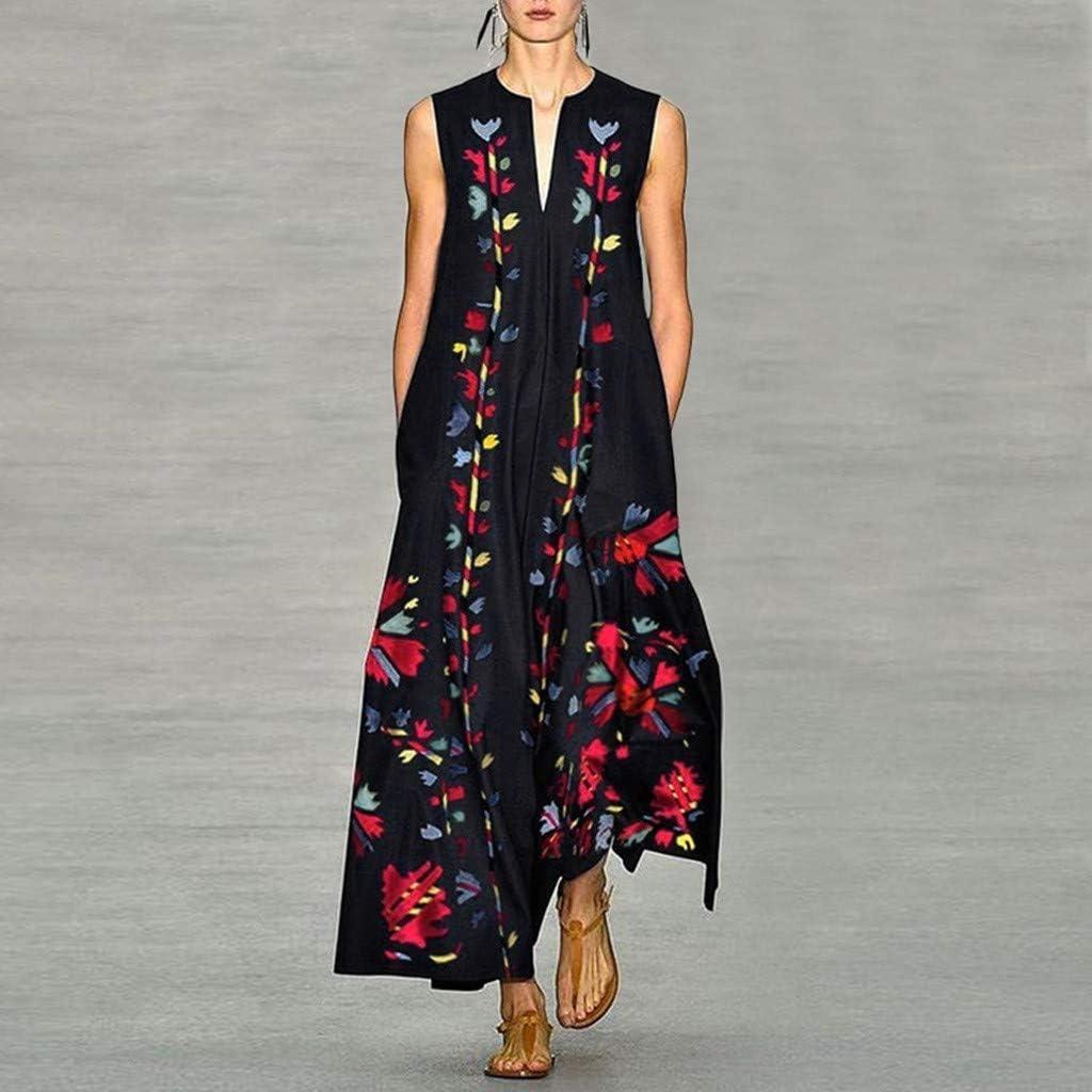 Hotkey Women Loose Dress Casual Summer Vintage Print Sleeveless V-Neck Ethnic Bohemian Oversize Caftan Long Maxi Dress