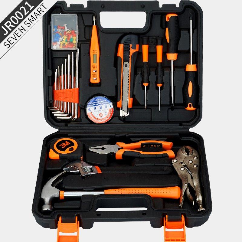 Seon Shima多機能家庭用工具セット電気技師木製ハードウェアツールボックス修理工具セット電気ドリルJR0008  -  21