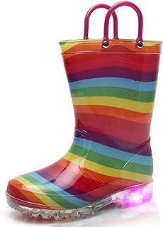 TRIPLE DEER Light Up Rainbow Rain Boots with Lights for Girls