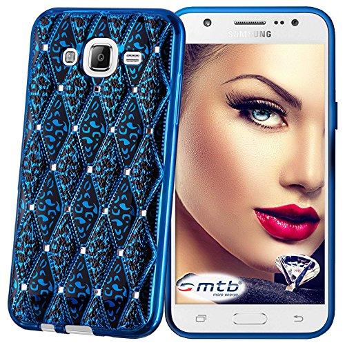 mtb more energy® Funda Glamour para Samsung Galaxy J5 (SM-J500, 5.0'') - azul metálico - Joya Gema TPU Gel Silicona Carcasa Cascara
