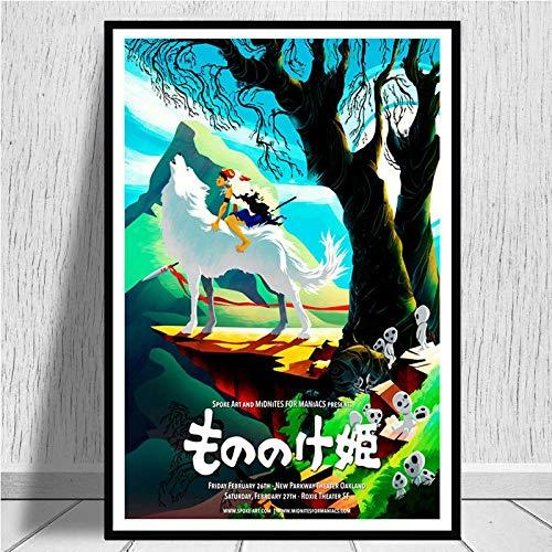 zhuifengshaonian Princesa Mononoke Studio Ghibli Anime Carteles e Impresiones Lienzo Pintura Cuadros de Pared para la decoración del hogar de la Sala de Estar(Zt-984) Sin Marco Poster 40x50cm