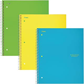 "Five Star Spiral Notebooks, 2 Subject, College Ruled Paper, 120 Sheets, 11"" x 8-1/2"", Teal, Yellow, Lime, 3 Pack (38623)"