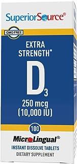 Superior Source Vitamin D3 10000 IU, Under The Tongue Quick Dissolve Sublingual Tablets, 100 Count, Promotes Strong Bones ...