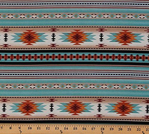Elizabeth's Studio Cotton Southwestern Native American Aztec Tucson 201 Light Turquoise Stripes Pattern Cotton Fabric Print by The Yard (201-light-turq)