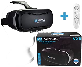 Gafas VR VR-PRIMUS VX3 + Mando | para Smartphone 's p.ej. iPhone,Samsung Galaxy,HTC,Sony,LG,Huawei | Google Cardboard QR,Botón de Control,Augmented Reality | VR Box,Glasses,Shinecon,Controlador