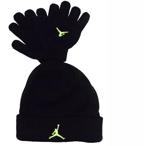 834af6f3d37 Nike Air Jordan Boys Winter Hat Beanie Cap Gloves Set Black/Neon 8/20