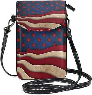 ZZKKO Mini-Umhängetasche, Handtasche aus Leder, USA-Flagge, für Damen, lässig, täglich, Reisen, Wandern, Camping
