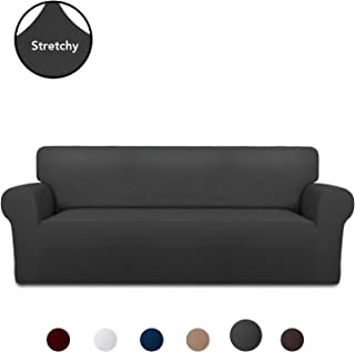 PureFit Super Stretch Chair Sofa Slipcover � Spandex Non Slip Soft Couch Sofa Cover, Washable Furniture Protector with Non Skid Foam and Elastic Bottom for Kids, Pets (Sofa, Dark Gray)