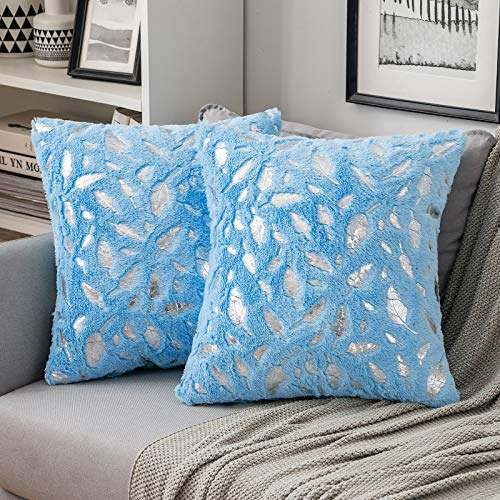 MIULEE 2er Set Silber Feder Kissenbezug Sofakissen Flauschiges Dekokissen Dekorative Kissenhülle Kissenbezüge Quadratisches Kissen für Sofa Wohnzimmer Schlafzimmer 45x45cm Hellblau