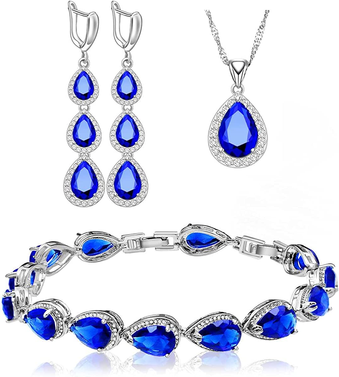 LMXXVJ Necklace Long Earrings Bracelet Set, White Gold Plated Created Blue Sapphire Jewelry Set Wedding Party Gift Jewelry for Women Bridal Bridesmaid
