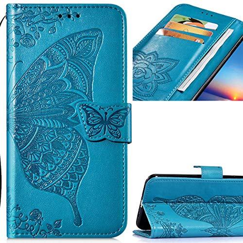 Saceebe Compatibile con Huawei P20 lite Funda de Cuero Flip Wallet Case Carcasa de Piel Wallet Case Funda de cuero Anverso y reverso Cover Flores y mariposas en relieve con cordón,azul