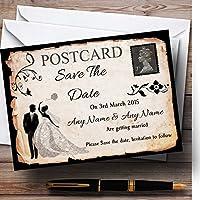 ブラックホワイトヴィンテージ素朴なポストカードPersonalized結婚を保存日付カード 100 Invitations