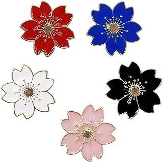Novelty Brooch Pin Set 5pcs Pretty Cherry Blossom Sakura Series Pattern Enamel-liked Lapel Pins Set Badges for Women Girls Clothes Bags Decor