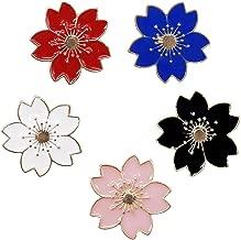 WINZIK Novelty Brooch Pin Set 5pcs Pretty Cherry Blossom Sakura Series Pattern Enamel-liked Lapel Pins Set Badges for Women Girls Clothes Bags Decor