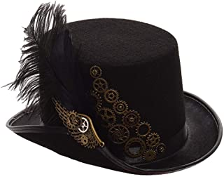 GRACEART Steampunk Black Feather Gears Top Hat