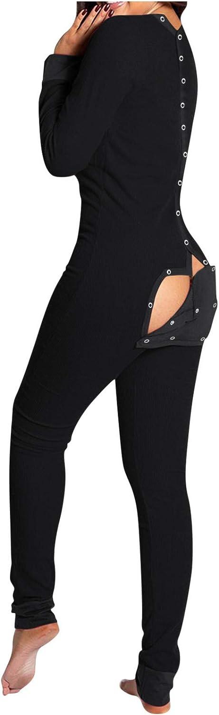 Women's Jumpsuit Pajamas Sexy,Onesies Sleepwear Button Pajama Jumpsuits Bodycon Romper Underwear Homewear Fashionable