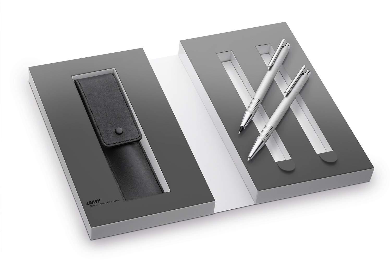 Lamy 1230490 Set de bolígrafo y portaminas con funda de piel en una caja de regalo M 206/106 cepillado, plata: Amazon.es: Oficina y papelería
