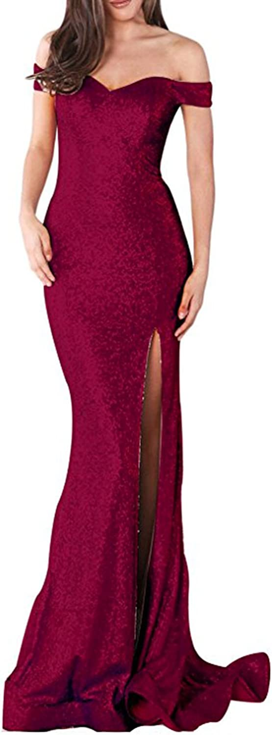 Womens Sequin Mermaid Prom Dresses Slit Side Long Cap Sleeve Evening Gowns