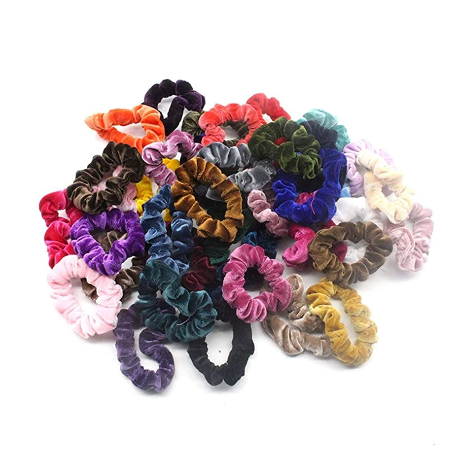 許さない考え一般的に40個ベルベットヘアライン 弾性ヘアバンド ソフトヘアケア 明るい色 複数の色 (多色)