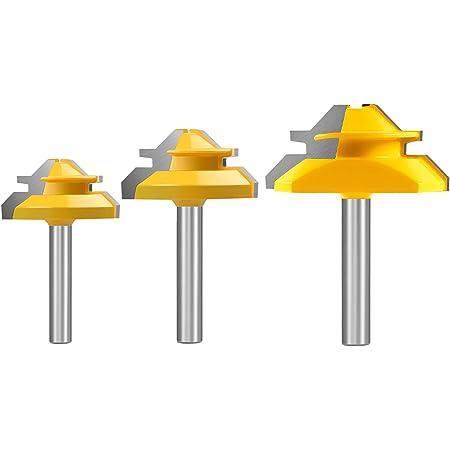CSPone 45 Degr/és Lock Mitre Router Bit Fraise /à Rainurer Pour Outil de Coupe du Bois Pour Machine de Gravure Machine de D/écogeupa