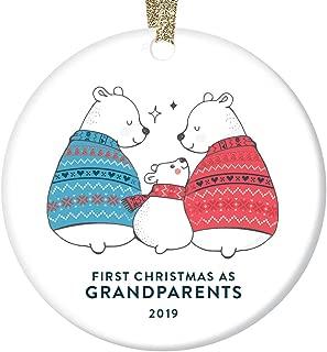 First Time Grandparents 2019 Ornament Christmas Gift for Grandma Grandpa Pregnancy Announcement Idea Baby's 1st Grandchild Present Cute Playful Bears Ceramic Tree Decoration 3
