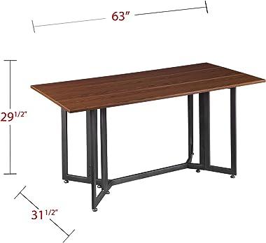 SEI Furniture Driness Drop Leaf Dining Console Convertible Table, Dark Tobacco/Gunmetal Gray